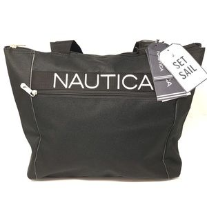 Nautica Set Sail Black Travel Tote Bag NWT $120